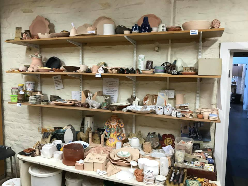 Pottery shelves