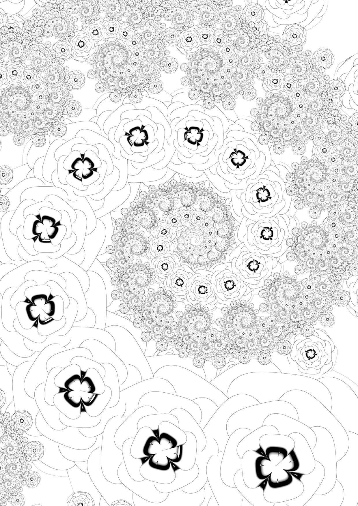 Colouring sheet - flower spiral