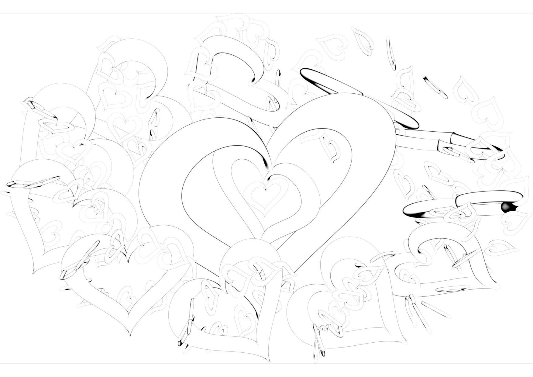 Colouring sheet - orbiting hearts
